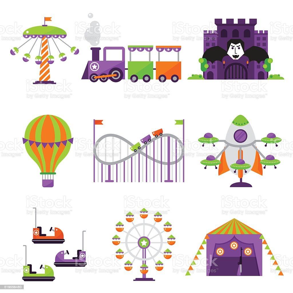 Flat design conceptual city elements with carousels amusement park vector vector art illustration