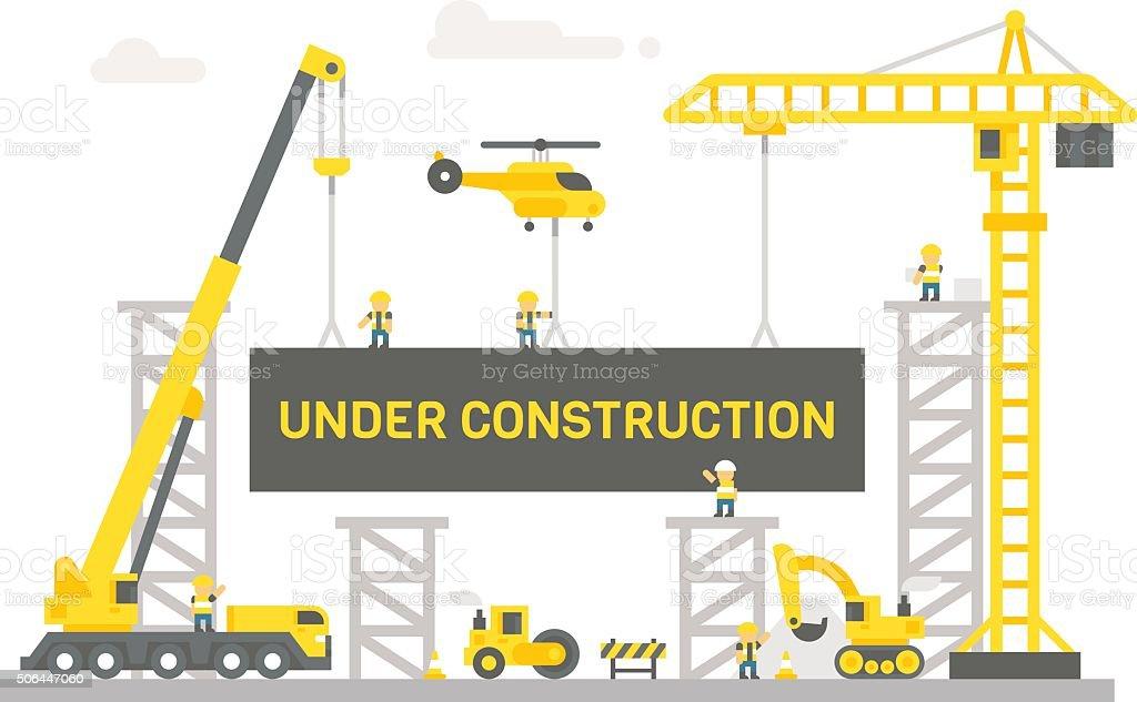 Flat design construction site sign vector art illustration
