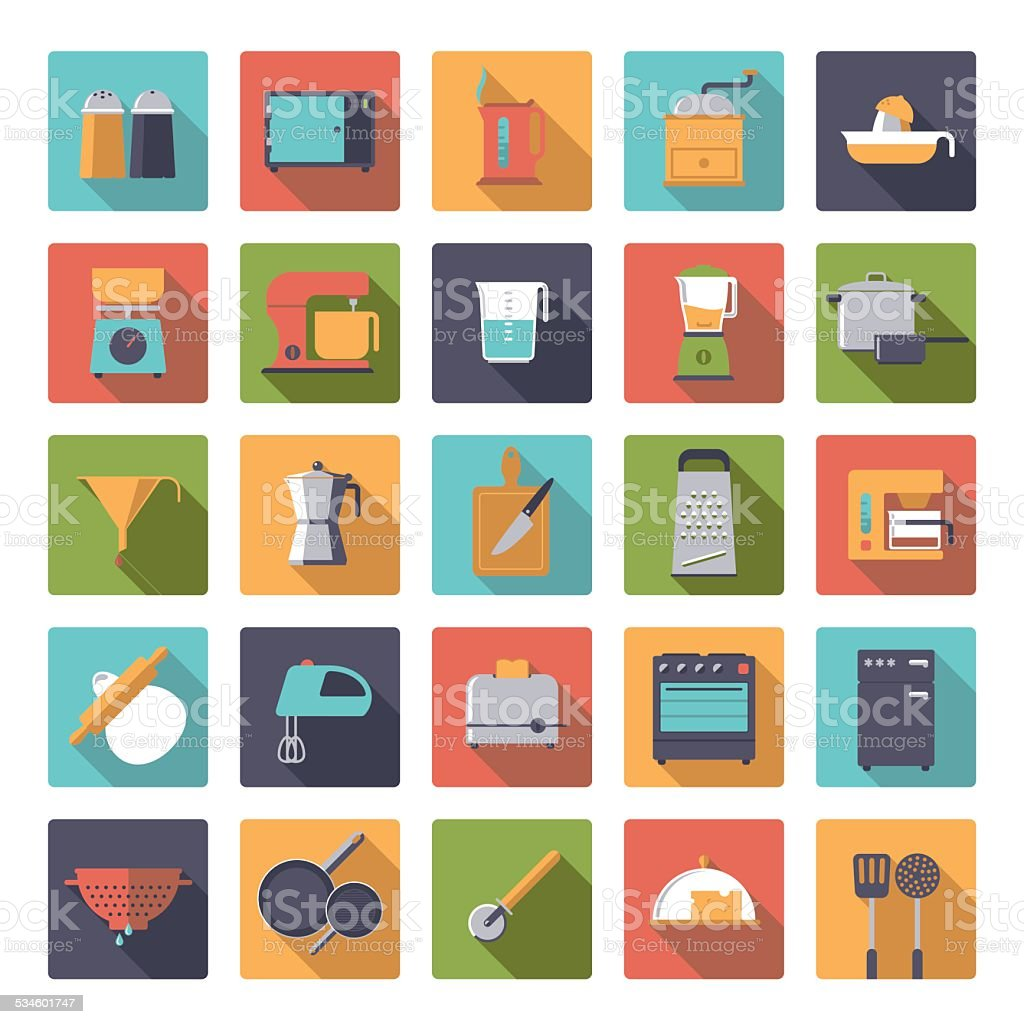 Flat Design Cooking Appliances Vector Icons Collection vector art illustration