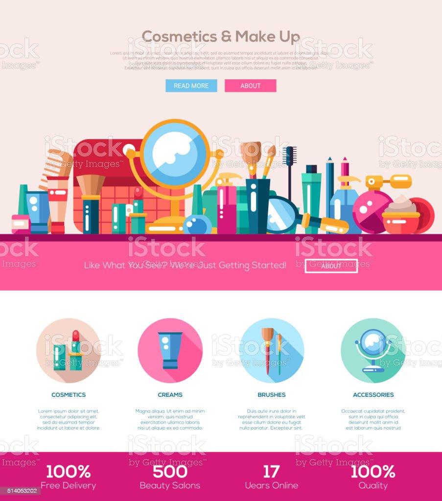 Flat design cosmetics, make up iheader banner with webdesign elements vector art illustration