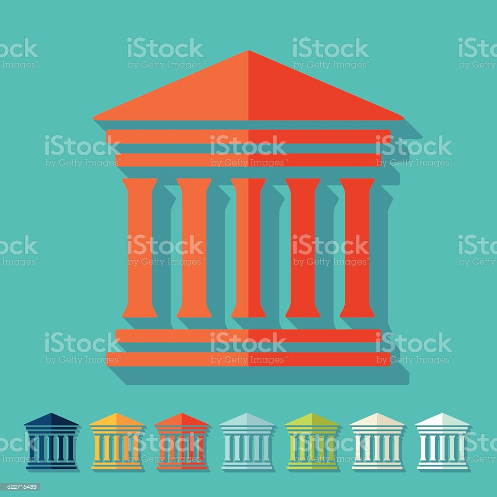 Flat design: courthouse vector art illustration