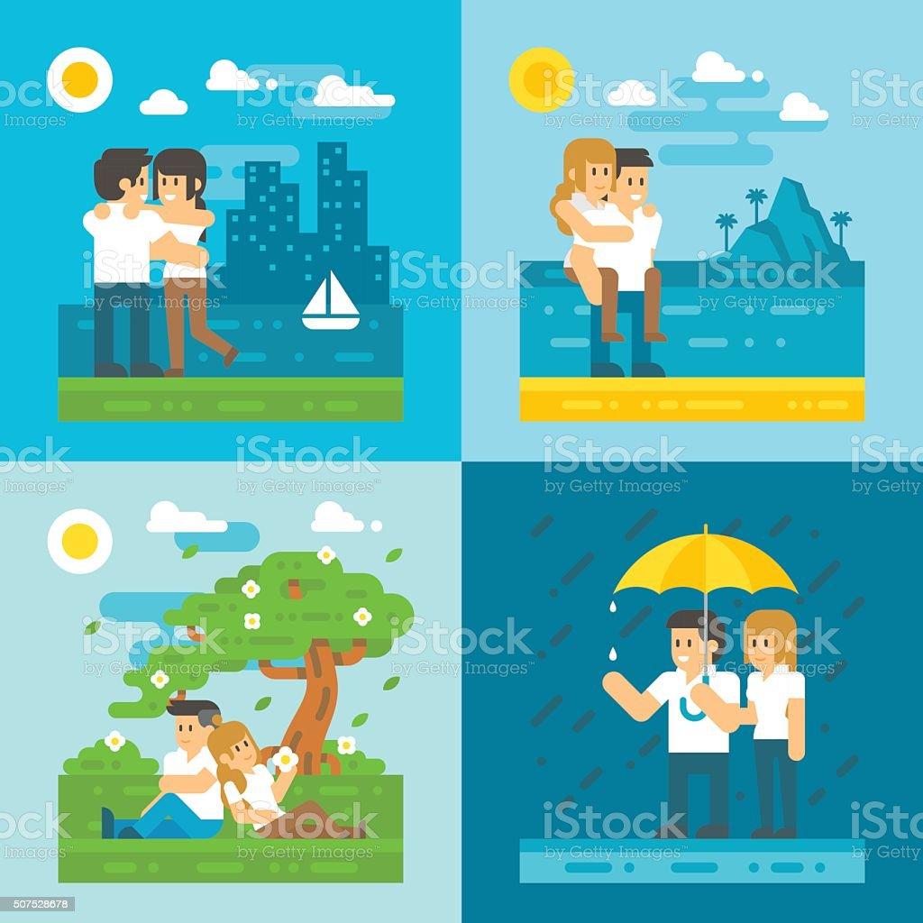 Flat design dating couple set vector art illustration