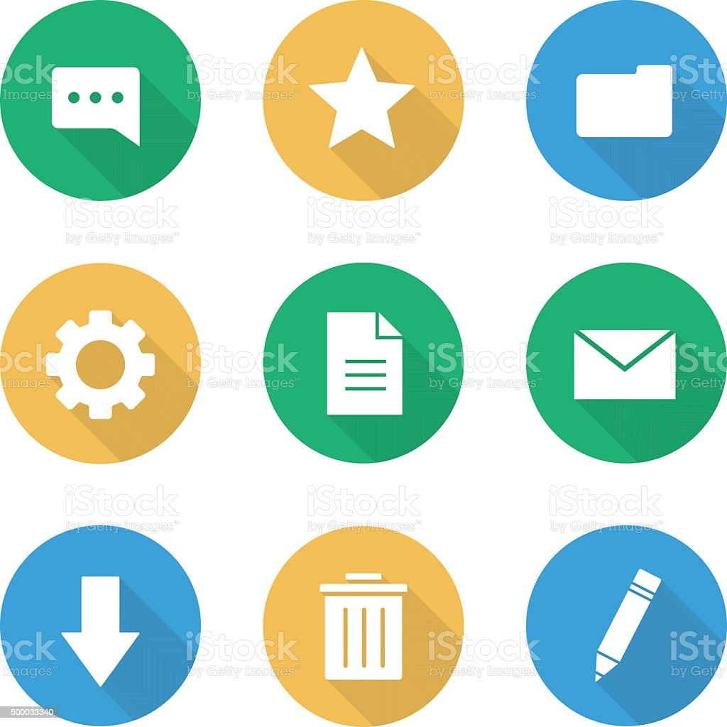 Flat design digital icons set vector art illustration