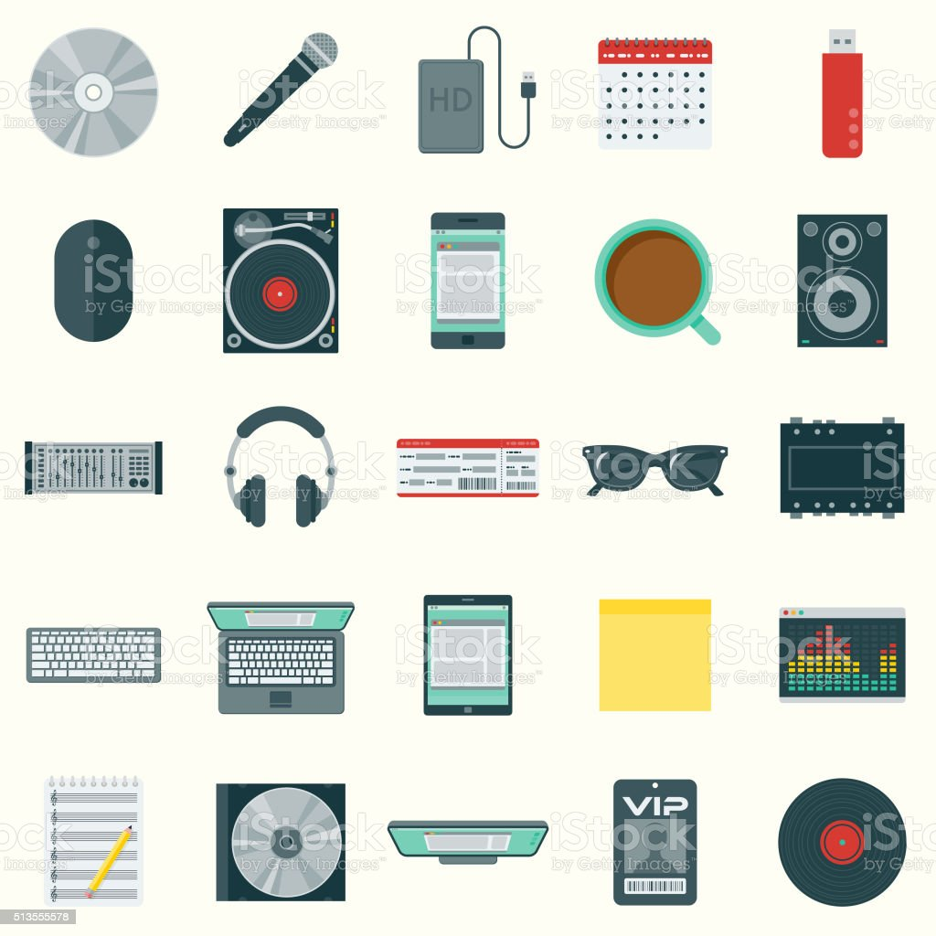 Flat Design Disk Jockey's Elements Icon Set vector art illustration