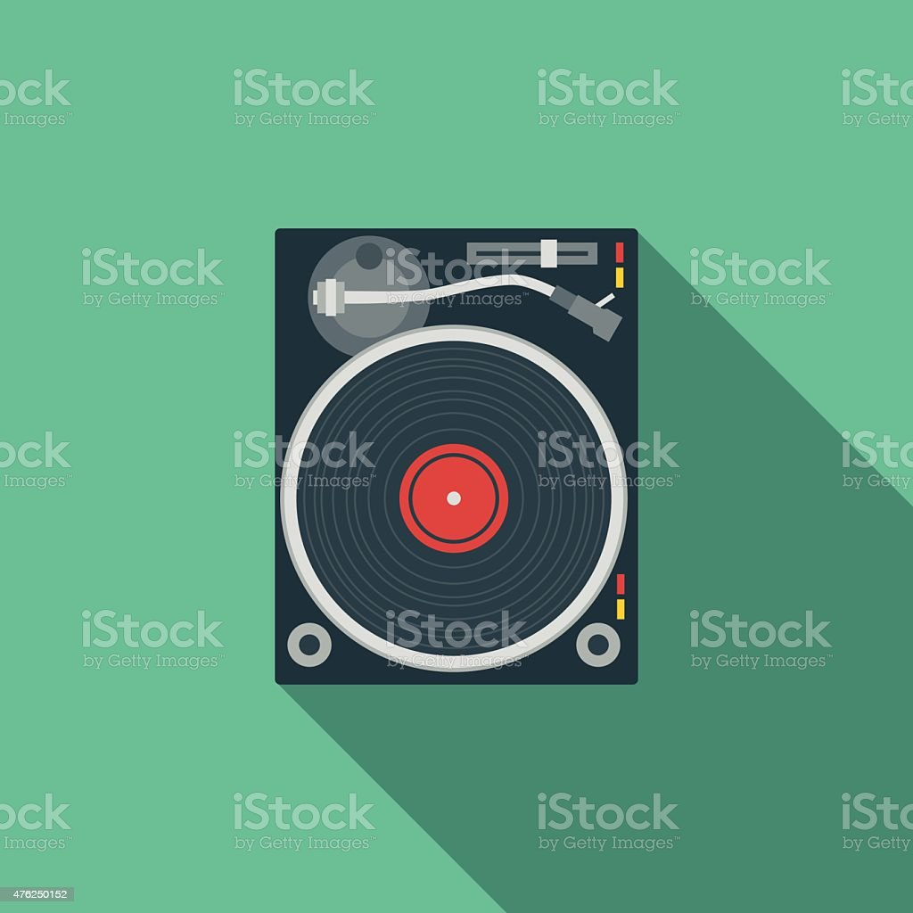 Flat Design DJ Turntable Icon With Long Shadow vector art illustration