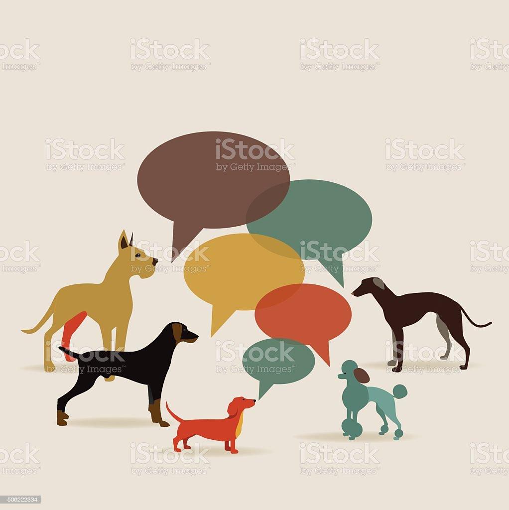 Flat design dogs with speech bubbles vector art illustration