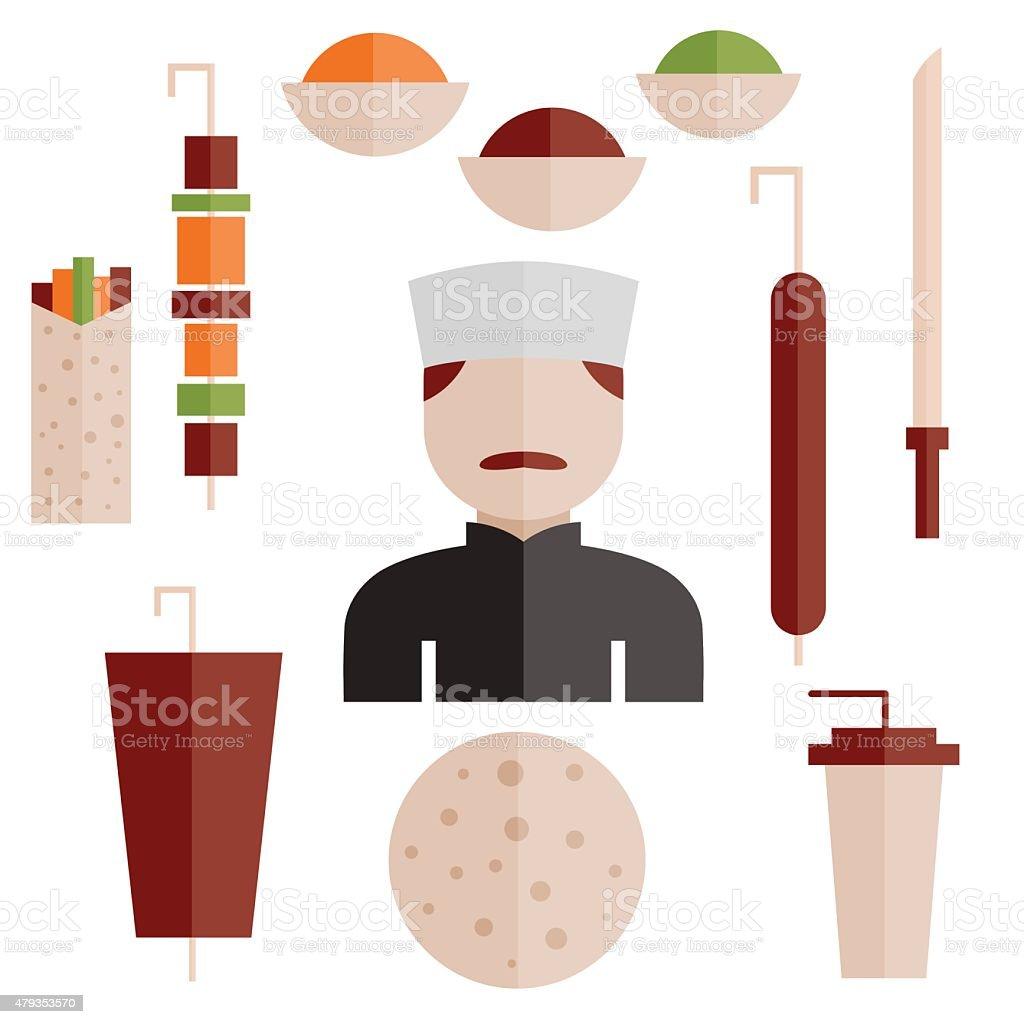 flat design doner kebab elements and chef vector art illustration