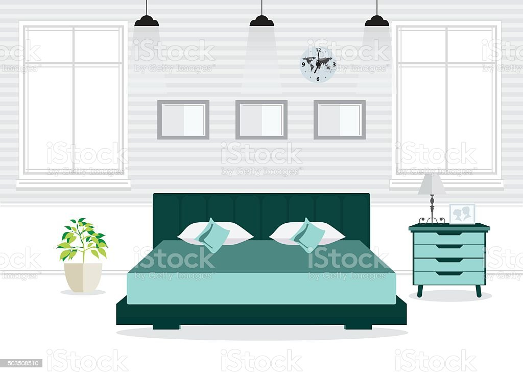Flat Design Double Bedroom with furniture. vector art illustration