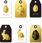 Flat design Easter taggs.