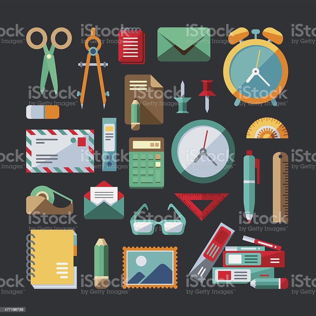 Flat Design Elements - Office royalty-free stock vector art