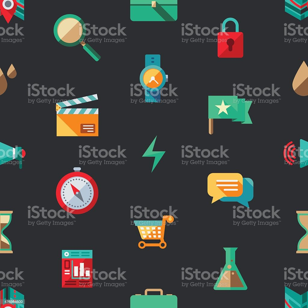 Flat Design Elements Seamless Pattern vector art illustration