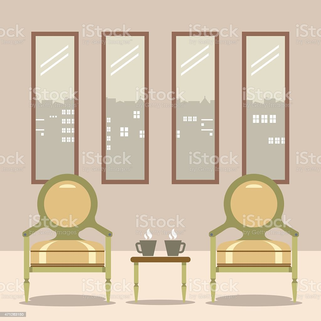 Flat Design Empty Chairs With Hot Coffee Cup On Table vector art illustration