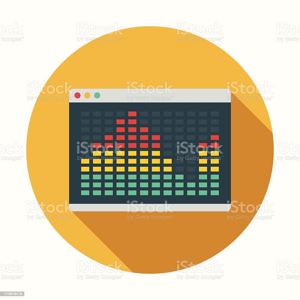 Flat Design Equalizer Interface Icon With Long Shadow vector art illustration