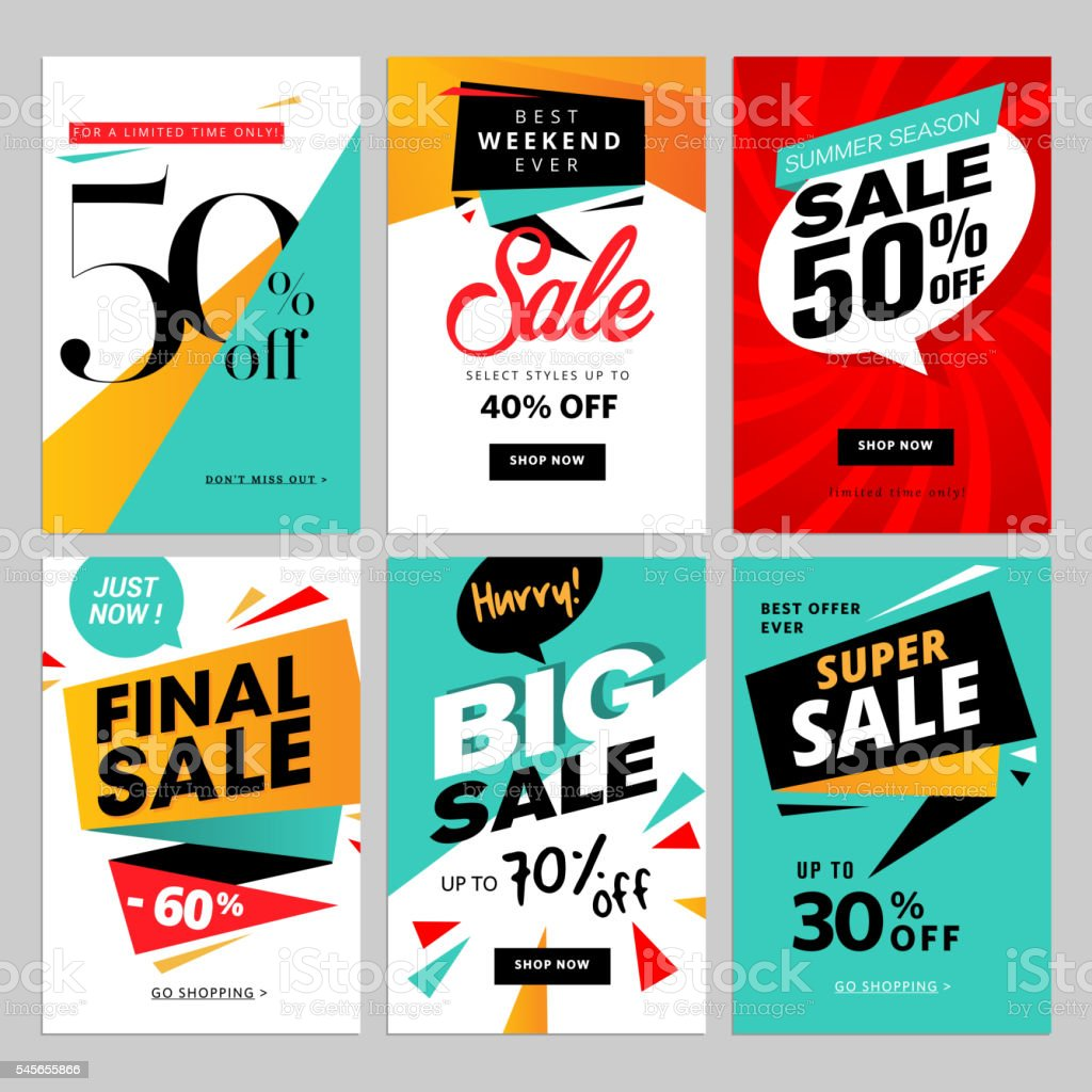Flat design eye catching sale website banners for mobile phone vector art illustration
