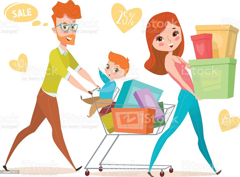 Flat design family. People and shopping royalty-free stock vector art