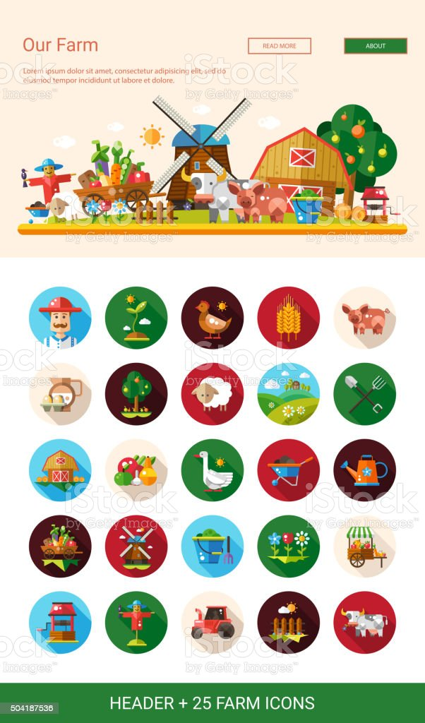 Flat design farm, agriculture icons and elements with header vector art illustration