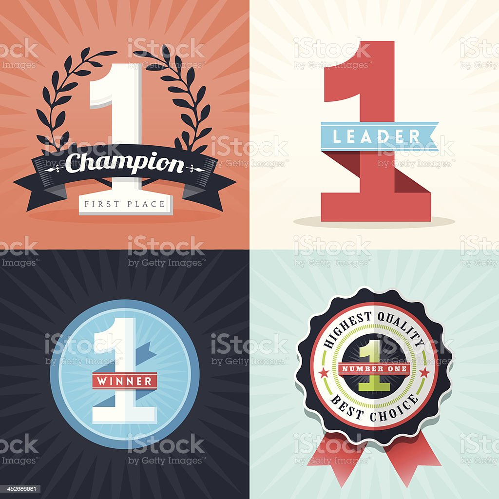 Flat Design First Place Winner ribbons and badges vector art illustration