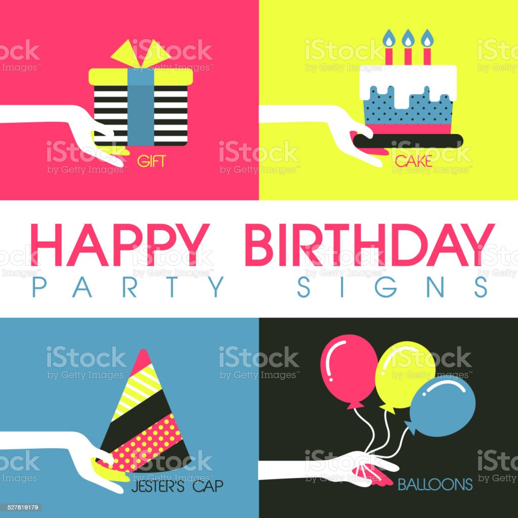 flat design for birthday party signs concept vector art illustration