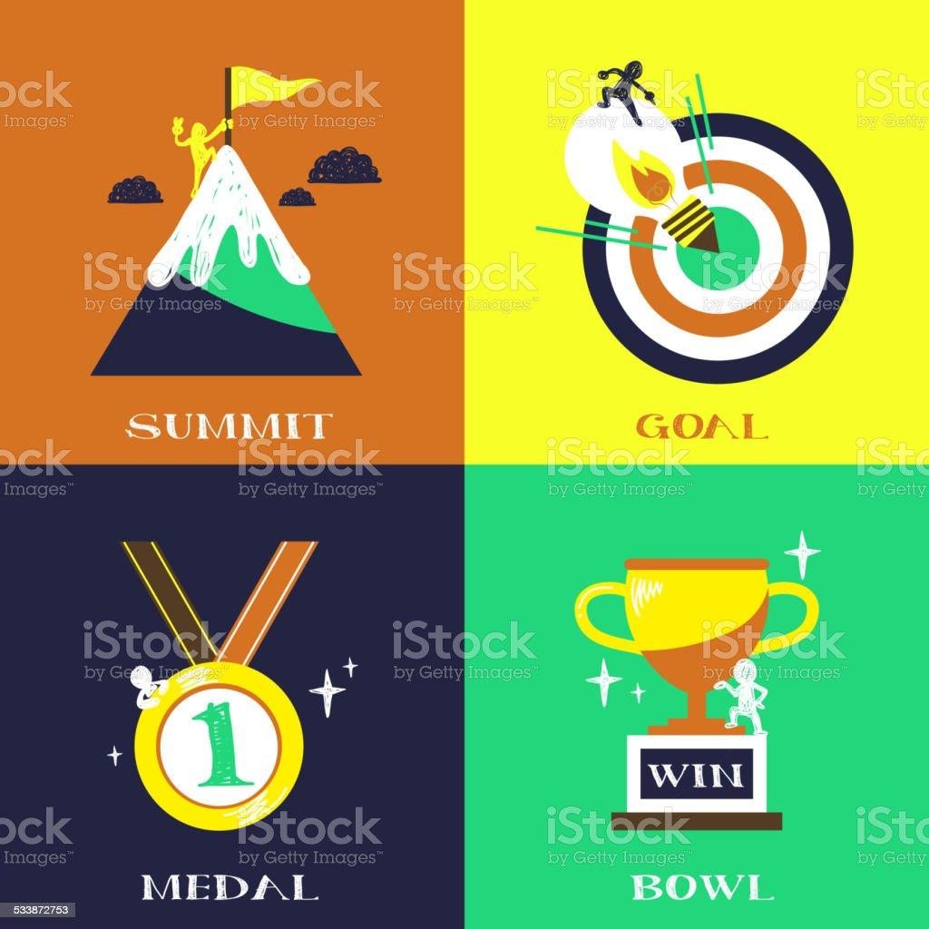flat design for success concepts set vector art illustration