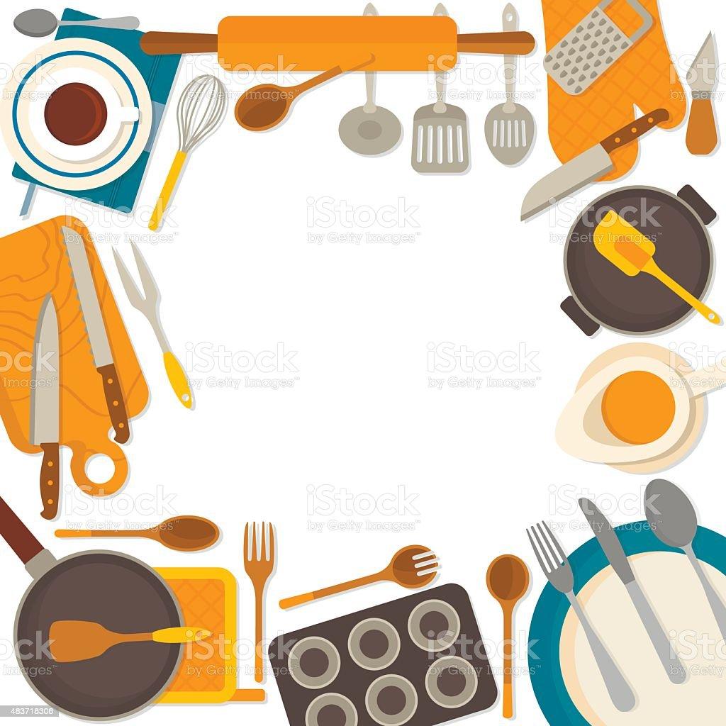 un cadre design dustensiles de cuisine isolé sur fond blanc stock ... - Cadre Cuisine Design