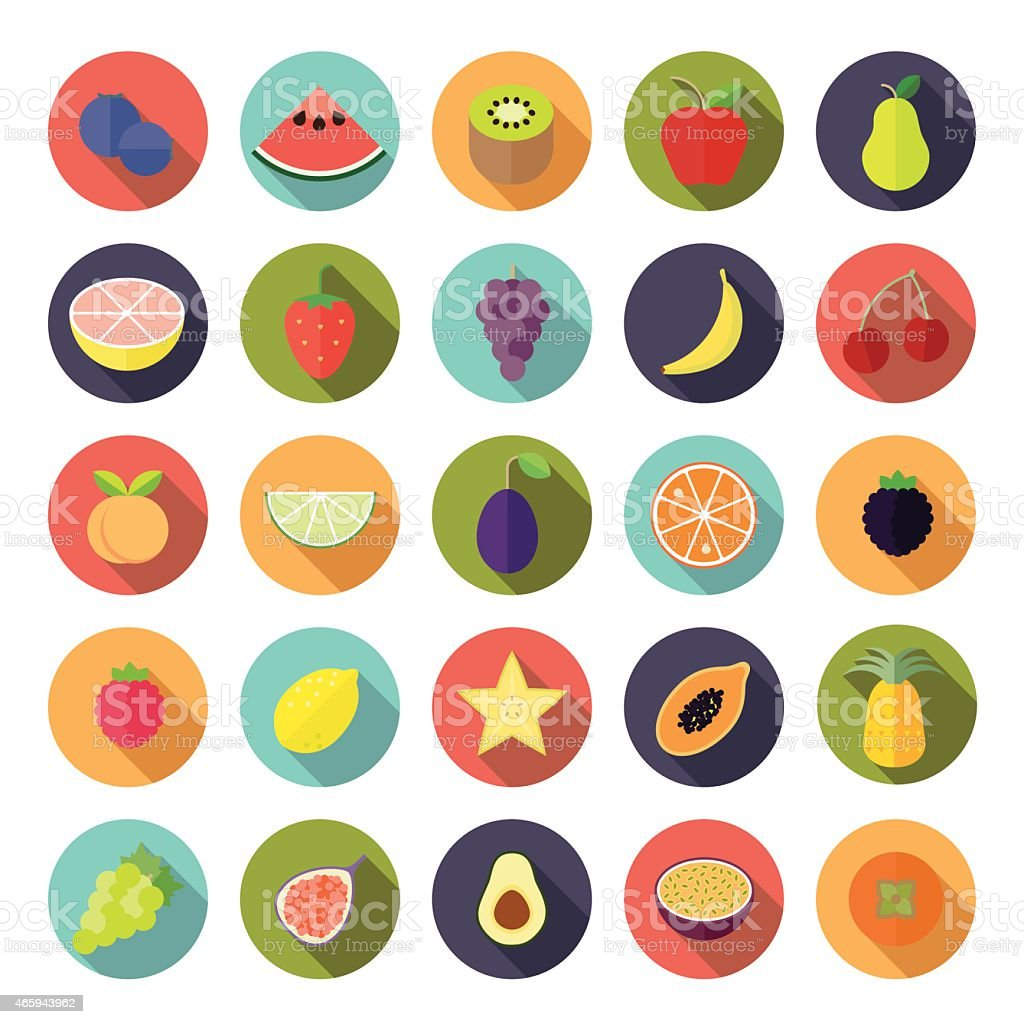 Flat Design Fruit Vector Icon Set vector art illustration