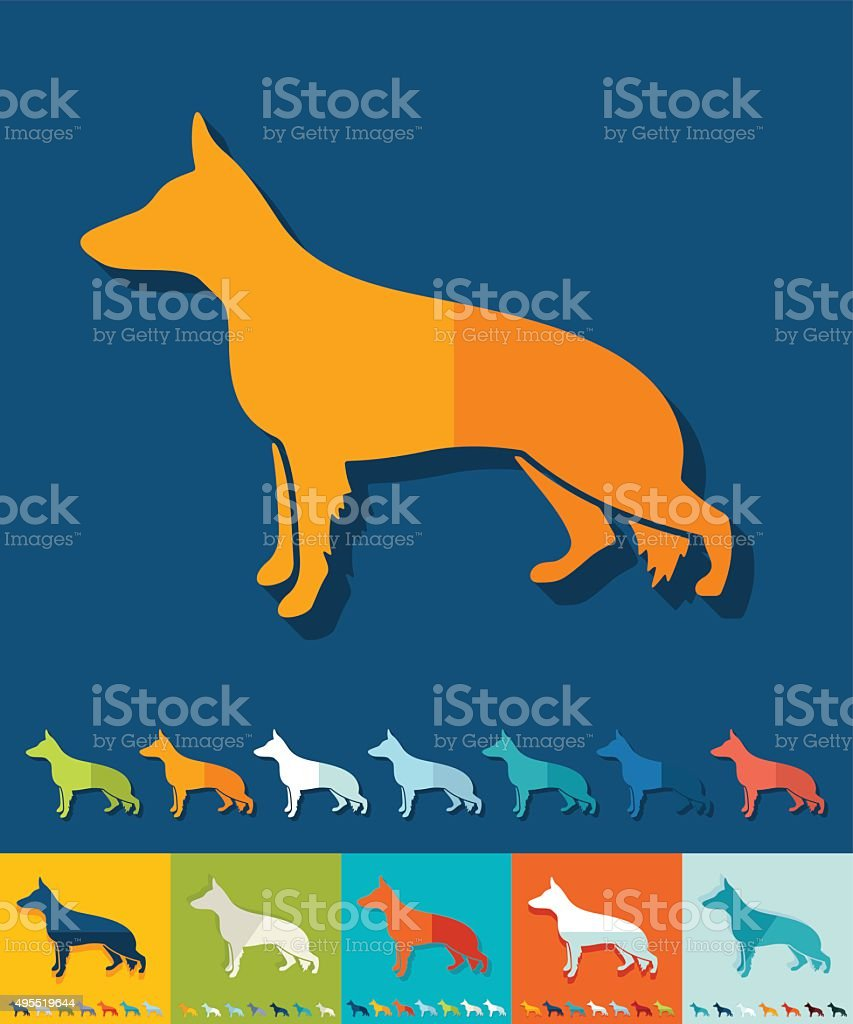 Flat design. german shepherd vector art illustration