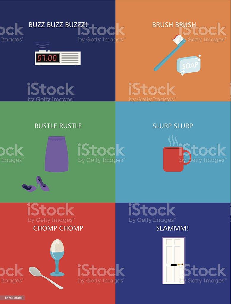 Flat Design Good Morning Icons Woman royalty-free stock vector art