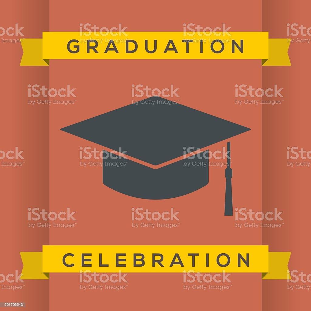 Flat Design Graduation Celebration vector art illustration