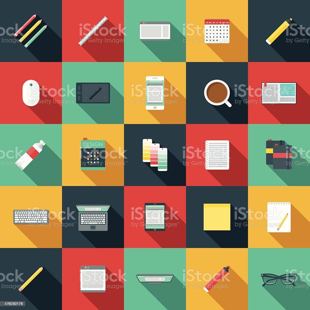 Flat Design Graphic Designer's Elements Icon Set vector art illustration