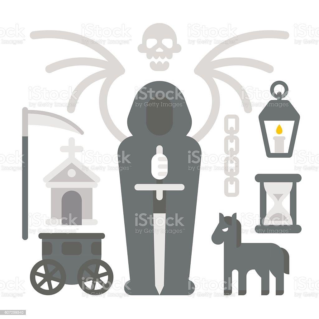 Flat design grim reaper item set vector art illustration