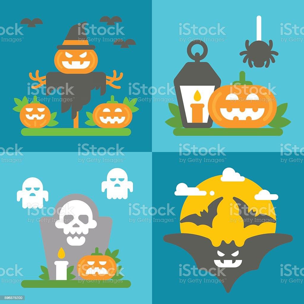 Flat design Halloween decor set vector art illustration