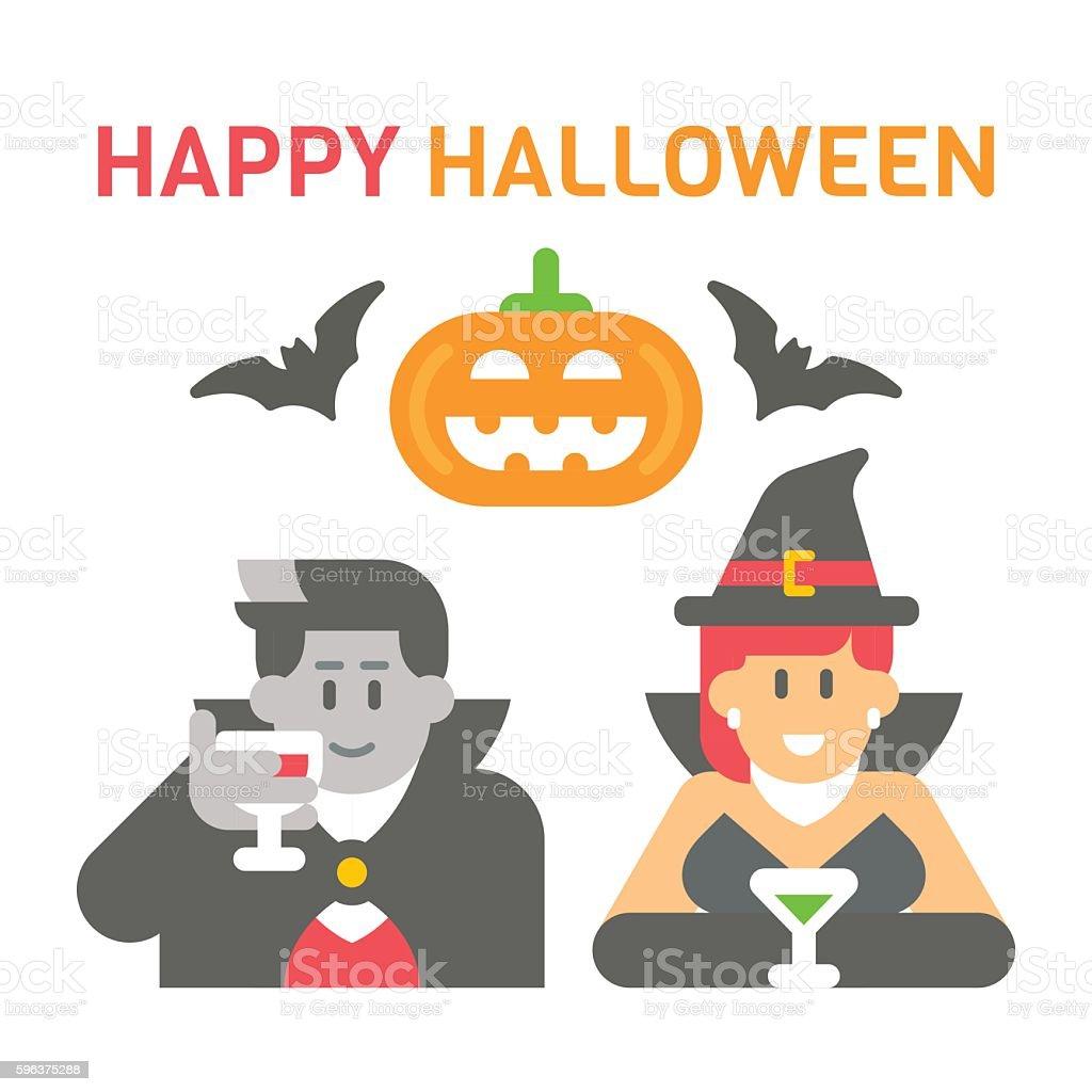 Flat design Halloween greeting vector art illustration
