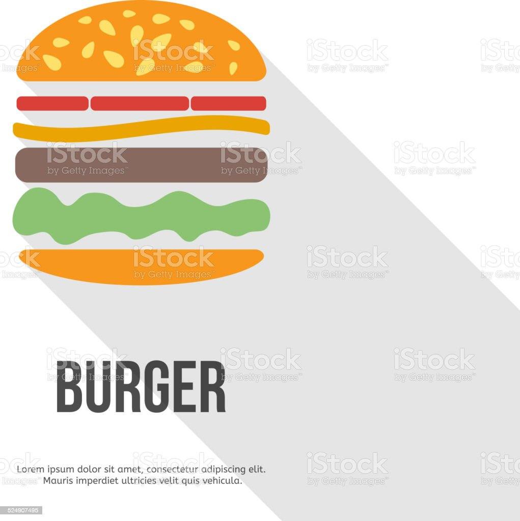 flat design hamburger web icon. vector vector art illustration