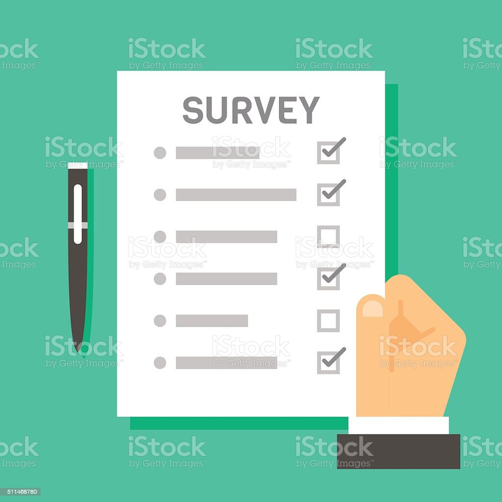 Flat design hand holding survey test paper vector art illustration