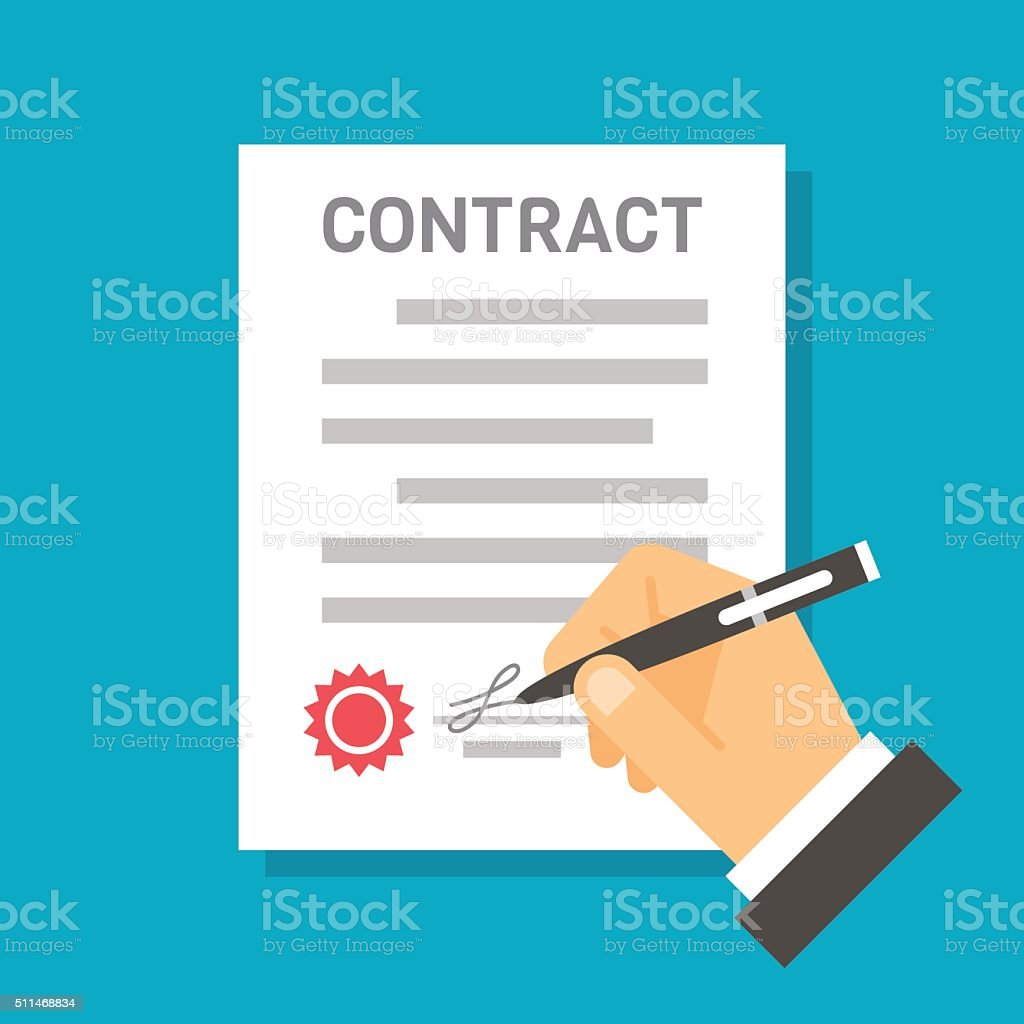 Flat design hand signing contract vector art illustration
