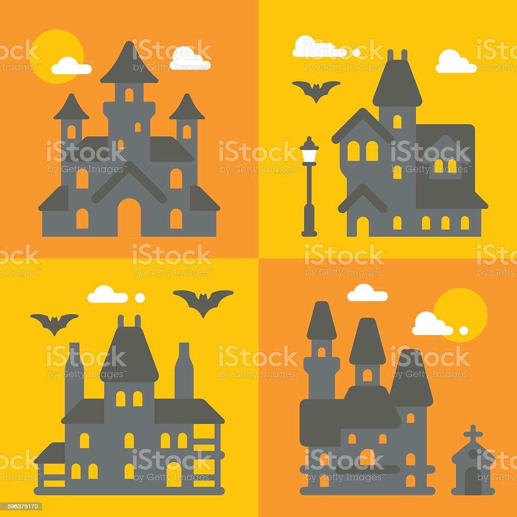 Flat design haunted house set vector art illustration