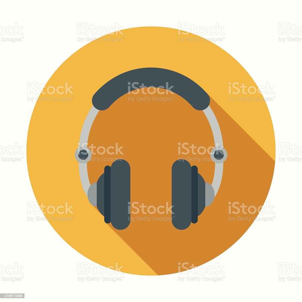 Flat Design Headphones Icon With Long Shadow vector art illustration