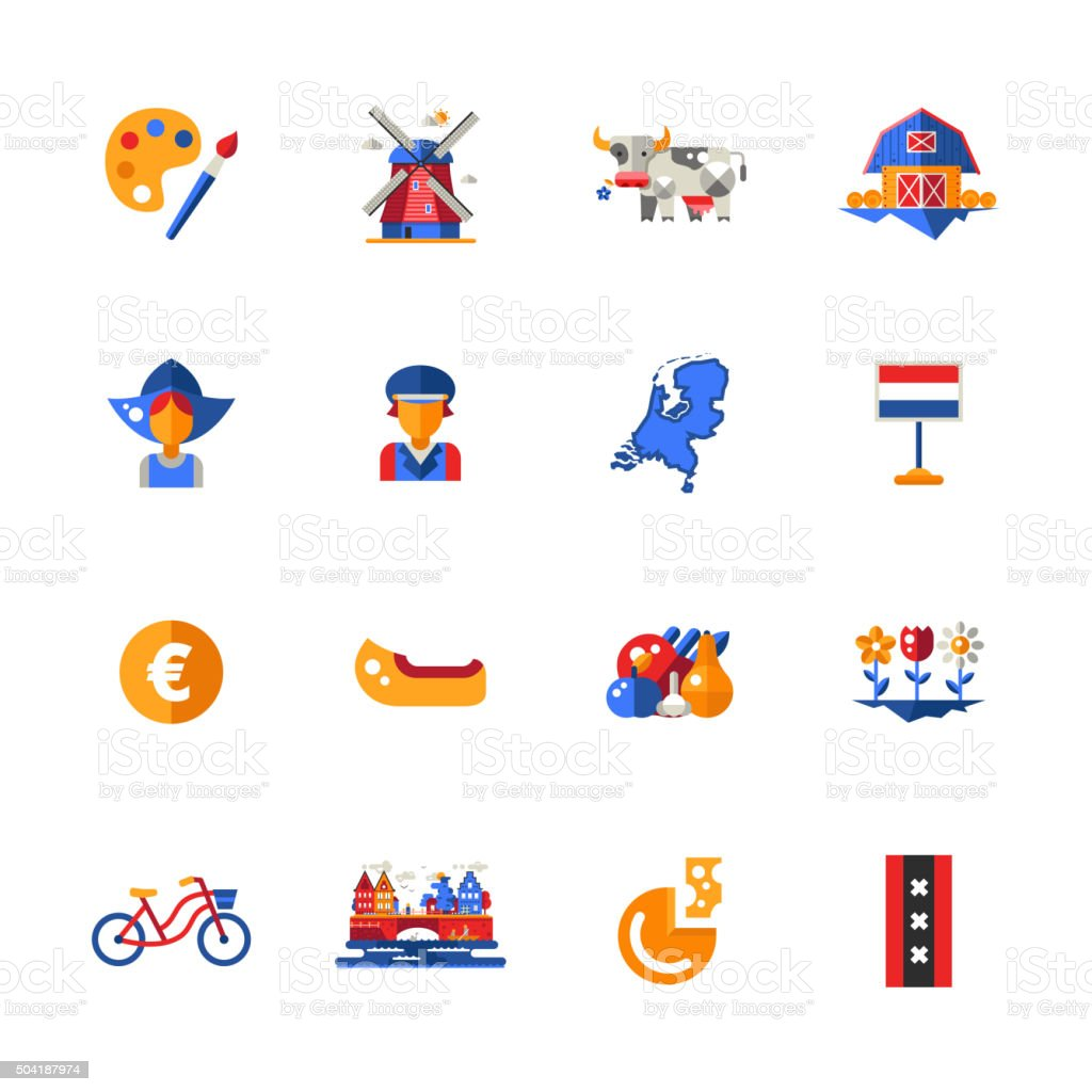 Flat design Holland travel icons, infographics elements with Dutch symbols vector art illustration