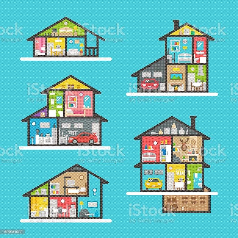 Flat design house interior set vector art illustration