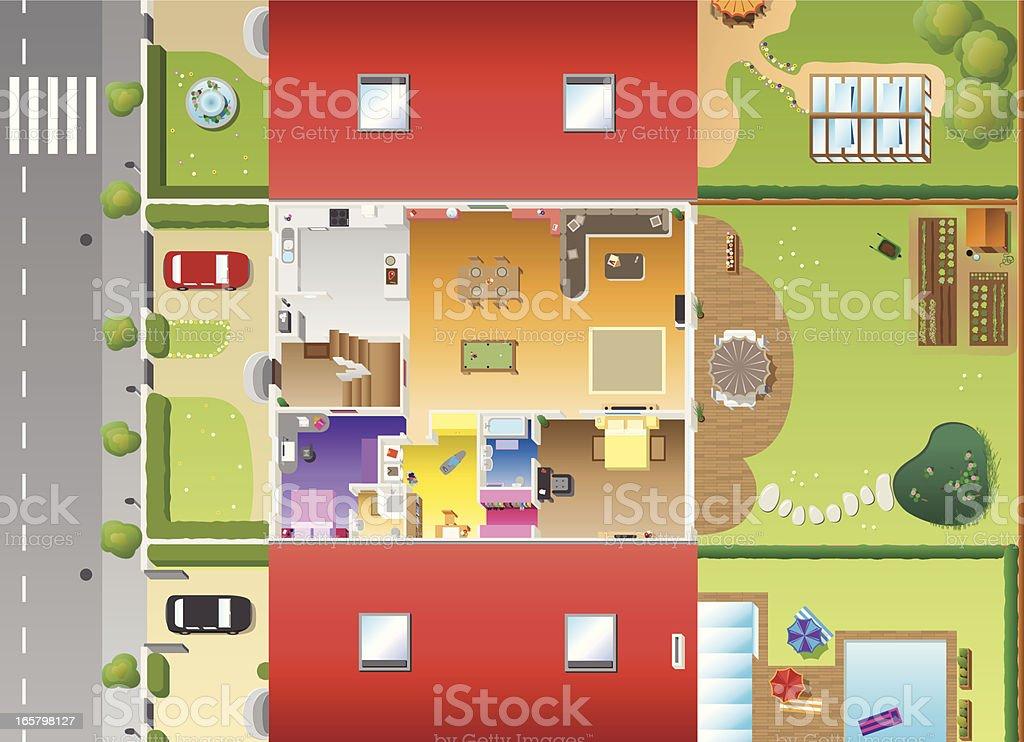 Flat Design - House plan and furnitures vector art illustration