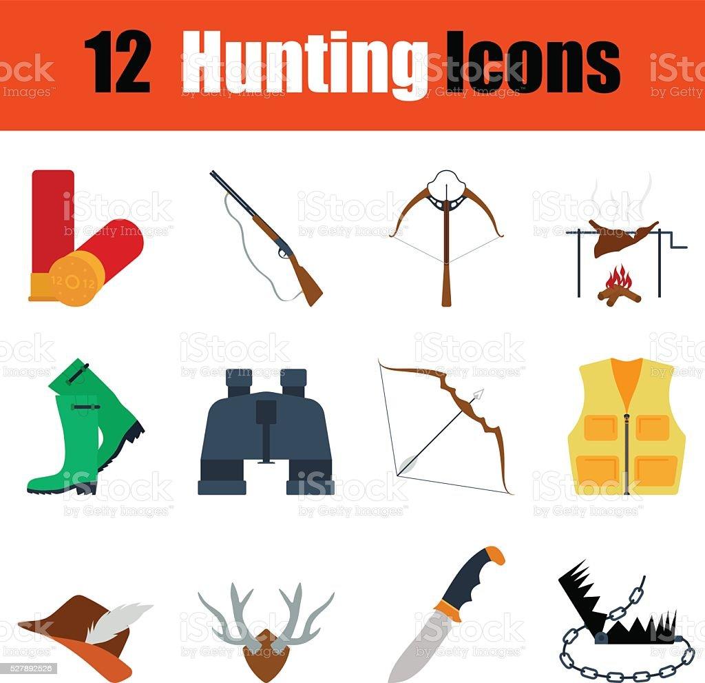 Flat design hunting icon set vector art illustration