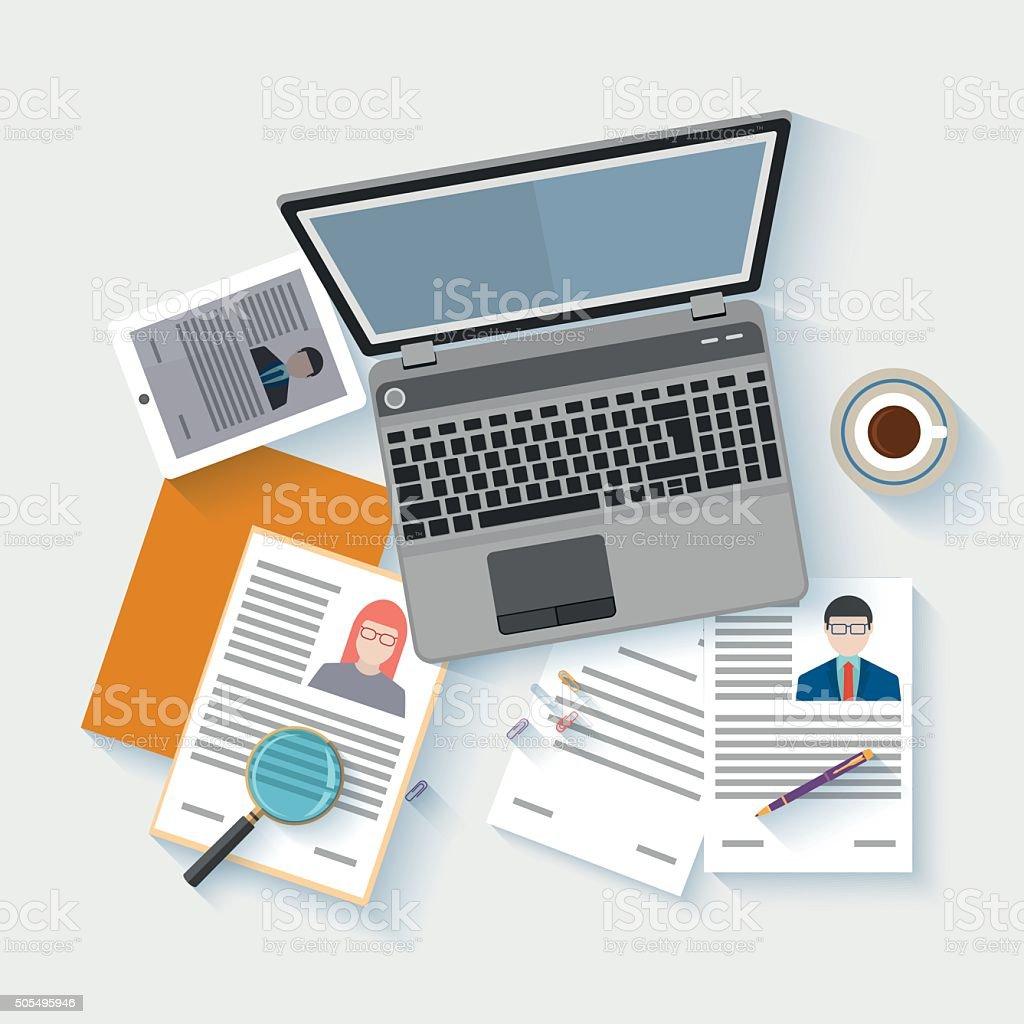 Flat design icon of human resources management vector art illustration