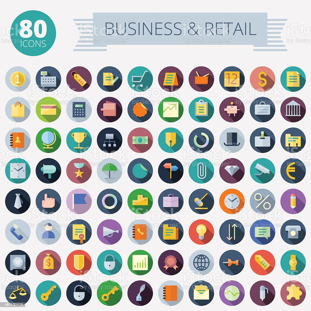 Flat Design Icons For Business and Retail vector art illustration