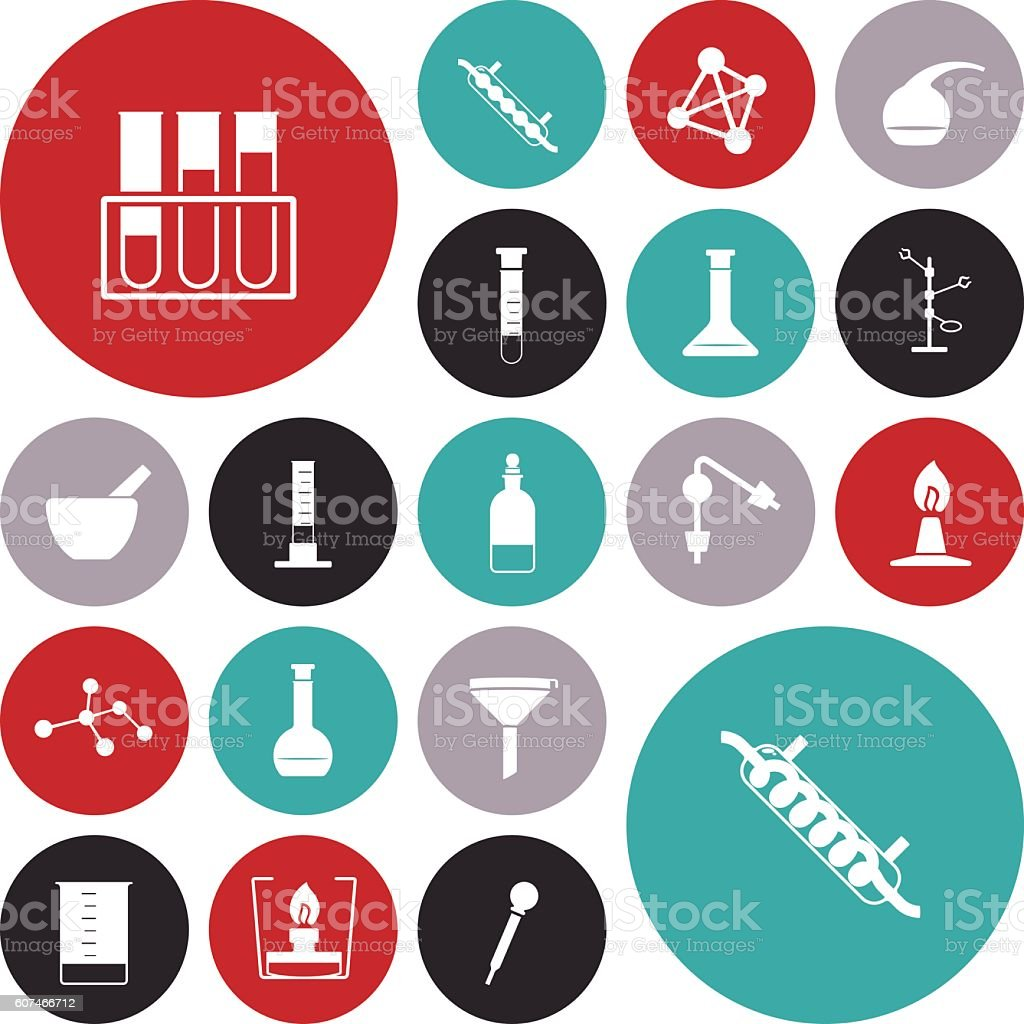 Flat design icons for chemistry lab vector art illustration
