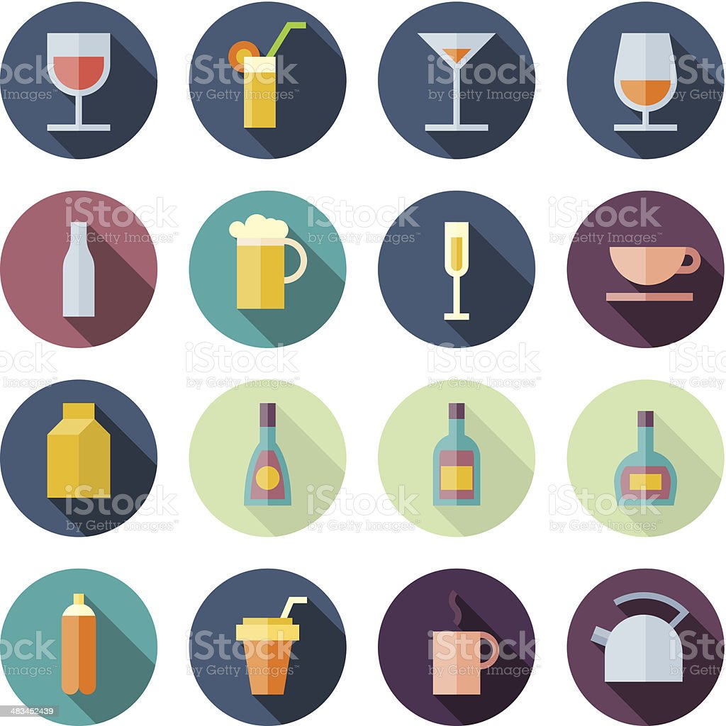 Flat Design Icons For Drinks vector art illustration