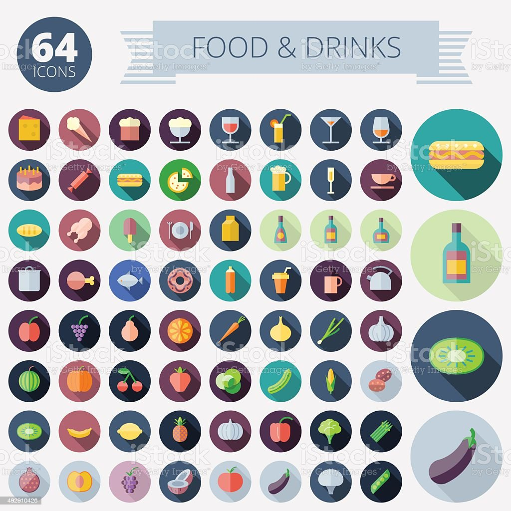 Flat Design Icons For Food and Drinks vector art illustration