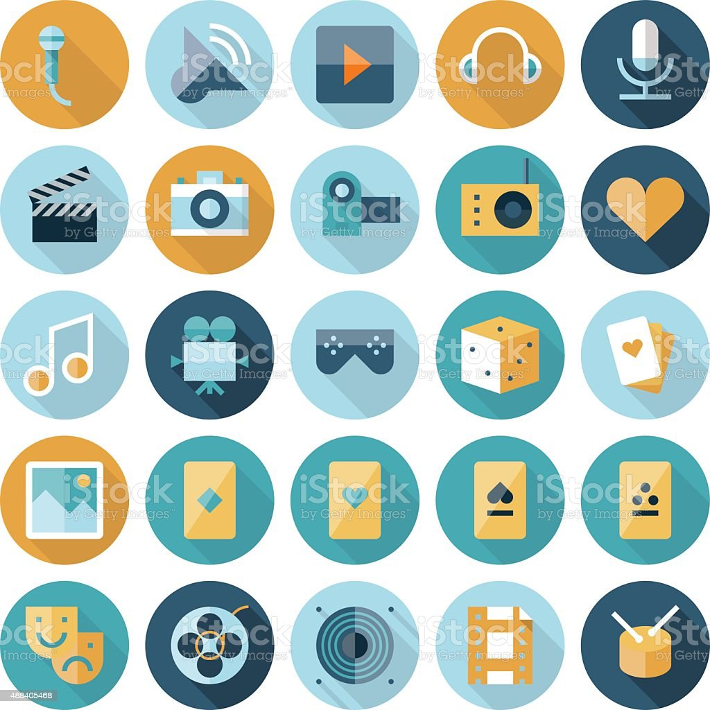 Flat design icons for leisure and entertainment vector art illustration