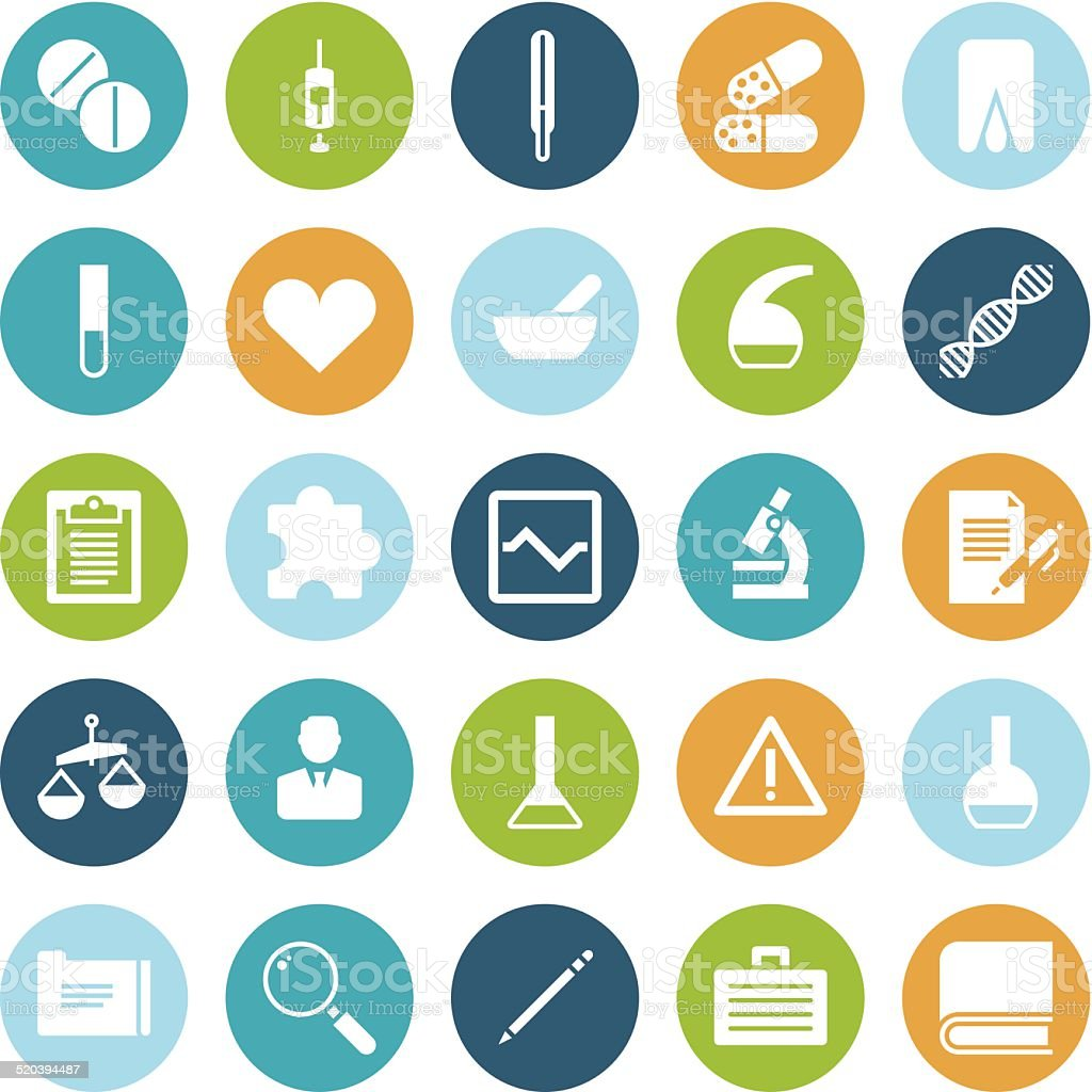 Flat design icons for medical science vector art illustration