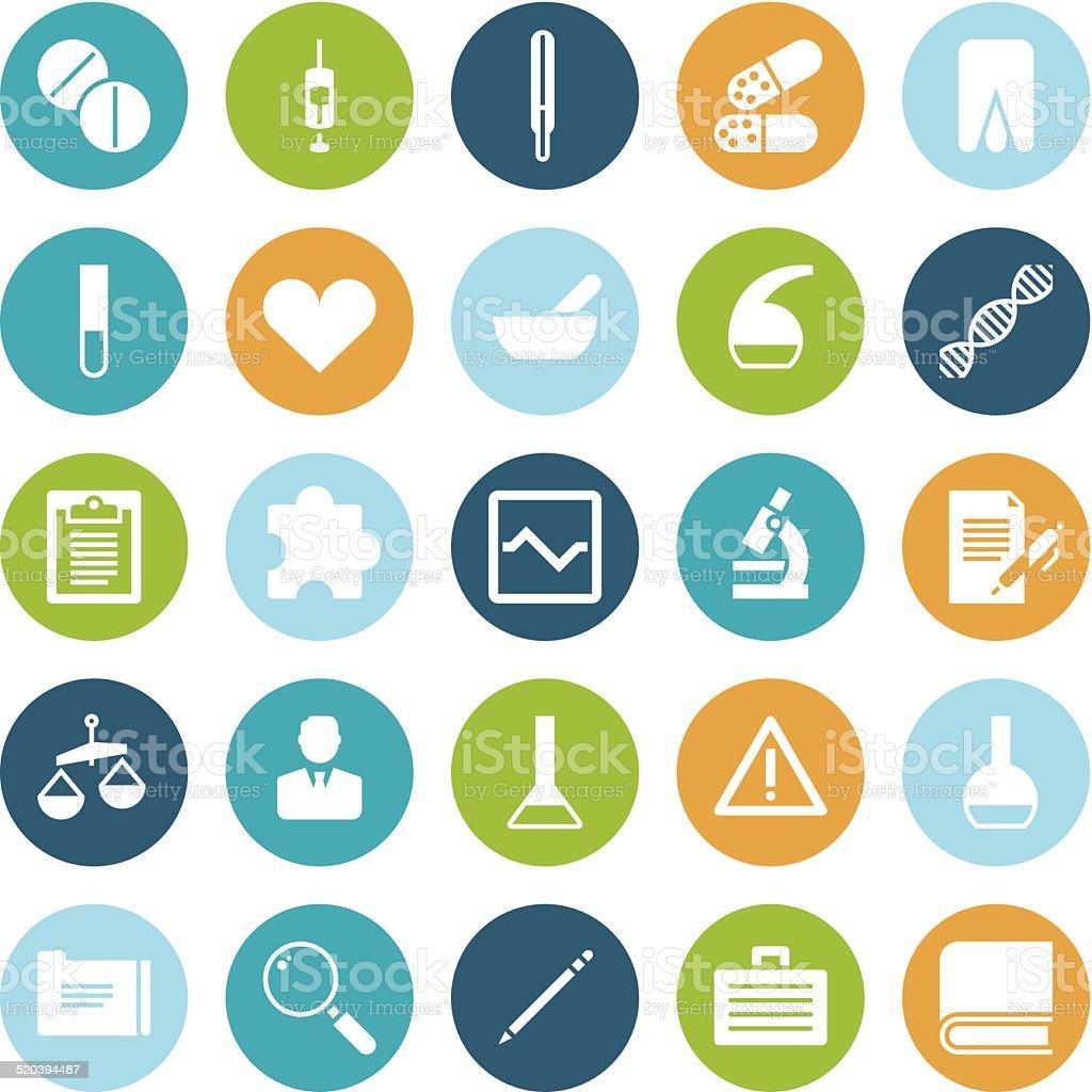 Flat design icons for medical science vector art illustration