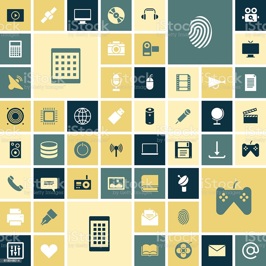 Flat design icons for technology and media vector art illustration